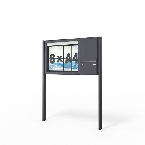 Schaukasten mit Briefkasten - seitlich - mit Standbeinen und LED & RAL-Farbton beschichtet